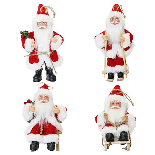Large Santa Hanging Ornaments - CHENGMON Christmas Santa Claus Ornaments Decorations Tree Hanging Figurines Collection Doll Pendant Small Traditional Holding Home Decors Set of 4 Pcs Assortment Pack 6