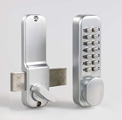 MUTEX Combination Door Lock MX250 Mechanical Keyless Surface Mount Deadbolt - Satin Chrome