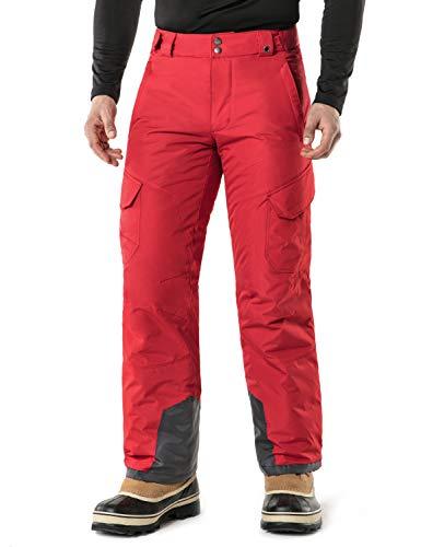 (Tesla TM-YKB83-RED_Medium Men's Cargo Rip-Stop Snow Pants Windproof Ski Insulated Water-Repel Bottoms YKB83)