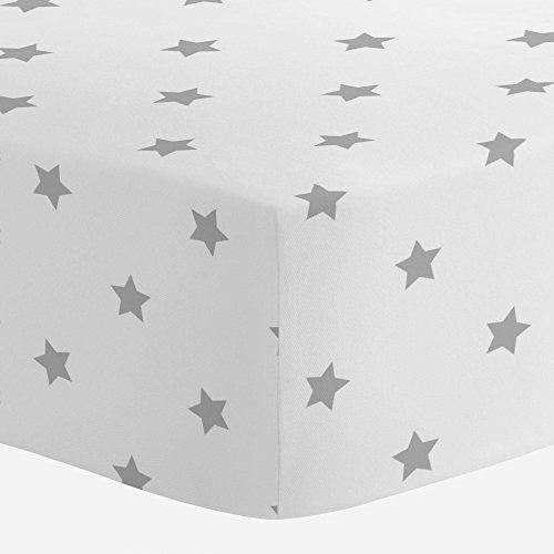 Carousel Designs Silver Gray Stars Crib Sheet - Organic 100%