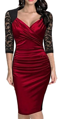 Hip Stitching Jaycargogo Women Sleeved Dresses Long Red Cocktail Package Sexy Lace rwPX0qdXx