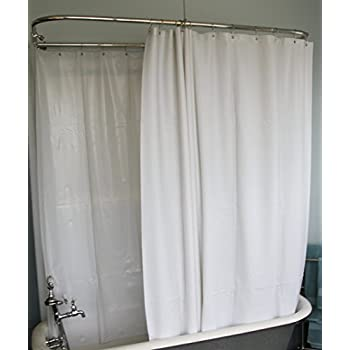 DL Extra Wide Vinyl Shower Curtain For A Clawfoot Tub White Without Magnets 180 X 70