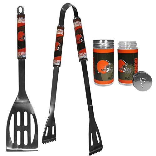 (NFL Cleveland Browns 2pc BBQ Set with Tailgate Salt & Pepper Shakers )