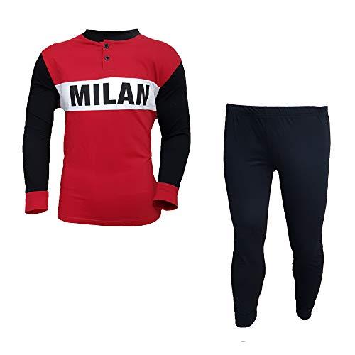ArtMi14075 Ac Prodotto In Ufficiale Uomo Lungo Pigiama Milan Rosso Cotone f6b7yg