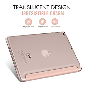 "MoKo iPad Air Case - Slim Lightweight Smart Shell Stand Cover with Translucent Frosted Back Protector for Apple iPad Air 9.7"" Tablet, Rose GOLD (with Auto Wake / Sleep, Not fit iPad Air 2)"
