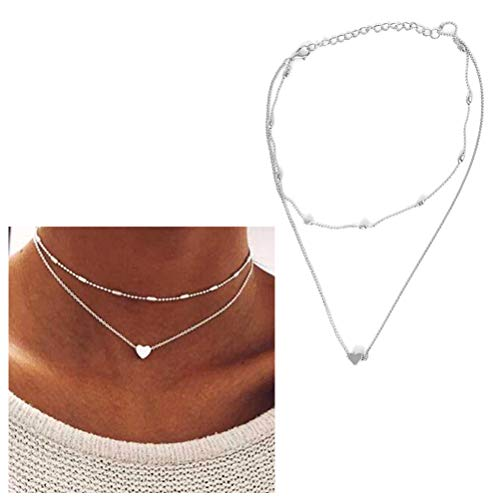 JUESJ Double Short Clavicle Chain Bullet Collar Love Heart Pendant Necklace For Women's Gift -