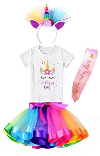 Girls Layered Tutu Skirt with Unicorn Star Birthday Tshirt, Headband & Satin Sash (Rainbow, 7-8 Years)