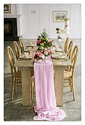 SoarDream Baby Pink Chiffon Table Runners 27x120 inches Romantic Chiffon Table Runner Wedding Party Table Decoration