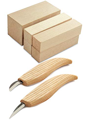 BeaverCraft Wood Carving Kit S16 - Whittling Wood Knives Kit - Widdling Kit for Beginners - Wood Carving Knife Set Wood Blocks Blank (Whittling Knives Kit)