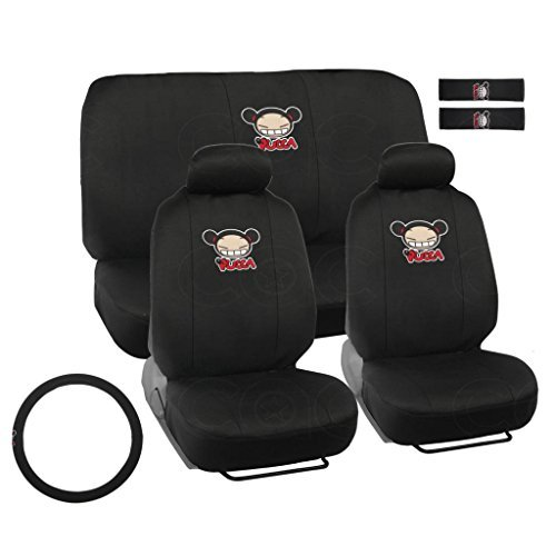 BDK PCSC-1104 Black (Pucca for Car & SUV-Full Set w/Steering Wheel Cover Belt Pads, Seat Protection)