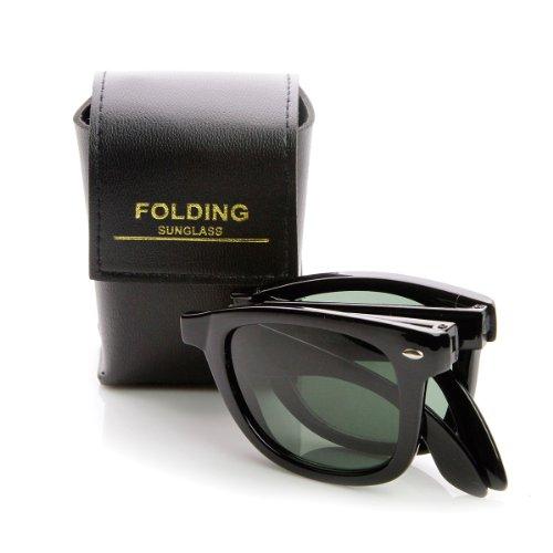 zeroUV - Limited Edition Folding Pocket Horn Rimmed Sunglasses + Case - Folding Case Wayfarer