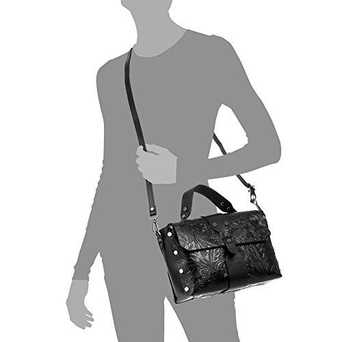 Vera Italiana 27x19x10 Auténtica Arabescos Grabado Pelle Lacado Negro bolso Italy Genuino Color Bolso bolso Mujer Made Firenze Mujer Piel In Black Cm Mano Brillo Artegiani De Hombro Cuero bolso q1wvxXgRBv