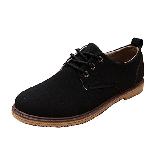 Gaorui Men Casual Fashion Suede Boat Shoes Boy Sports Moccasin Loafers Sneakers Lace up Black SgKNsT71X