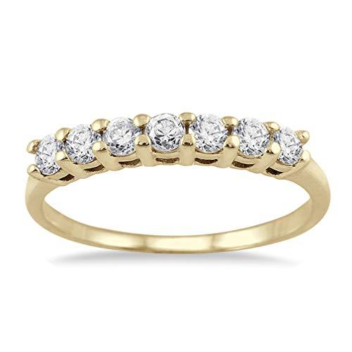 AGS Certified 1/2 Carat TW Seven Stone Diamond Wedding Band in 10K Yellow - Band Tw Five Stone Diamond