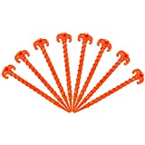 """Canopy Stakes Tent Pegs Beach Tent Stakes Heavy Duty Screw Shape 10"""" 10 Pack Yellow / 7.9"""" 8 Pack Yellow / 10"""" 4 Pack Orange / 10"""" 8 Pack Orange"""