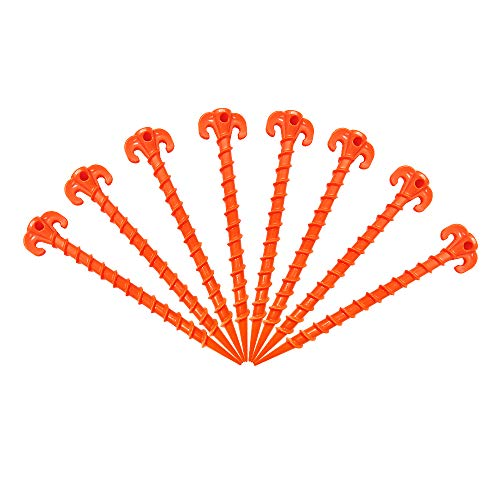 Canopy Stakes Canopy Anchors Beach Tent Stakes Heavy Duty Screw Shape 25 cm 10 inch - 8 Pack Orange (Best Tent Stakes For Sand)