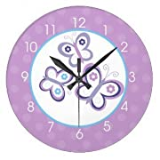 Dancing Butterflies with Purple Dot Background Round Large 10.75  Girls Nursery Wall Clock