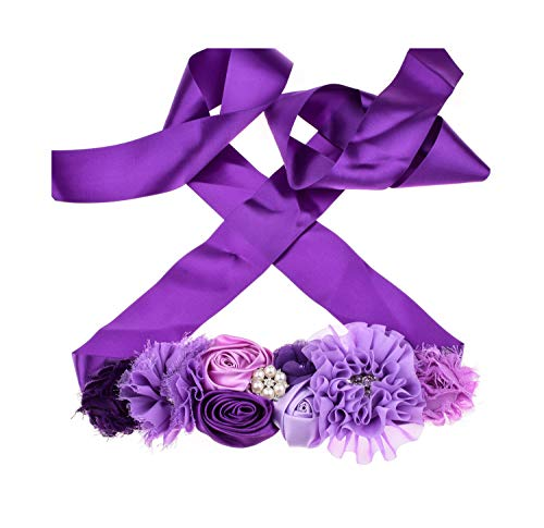 Floral Fall Flower Maternity Pregnancy Sash Baby Shower Gift Photo Prop Girls Bridal Rhinestone Belt SH-19 (Lilac)