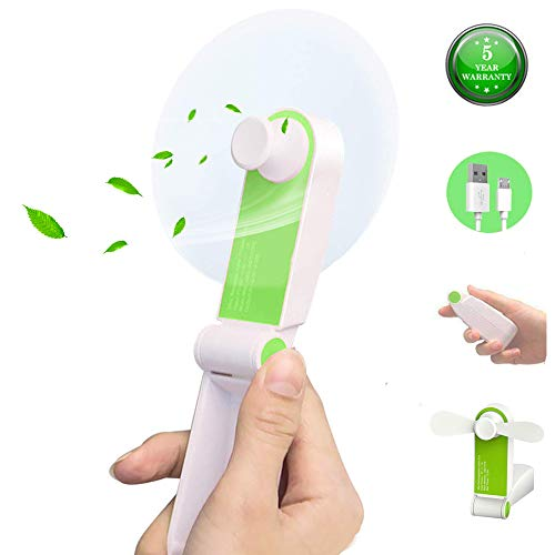 ANUOEXGO Mini Handheld Fan, Personal Portable Cooling Fan Foldable Desktop Table Electric Fan USB Rechargeable Air Conditioning Fan Strong Wind Adjustable 2 Speeds Pocket Size Gift (Green) ()