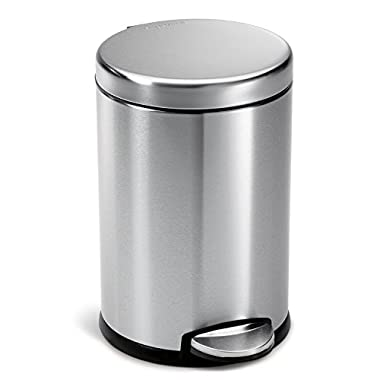 simplehuman Mini Round Step Trash Can, Stainless Steel, 4.5 L / 1.2 Gal