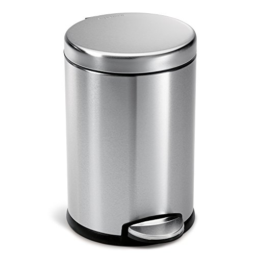 simplehuman 4.5 Liter / 1.2 Gallon Compact Stainless Steel Round Bathroom Step Trash Can, Brushed Stainless - Cans Step Trash