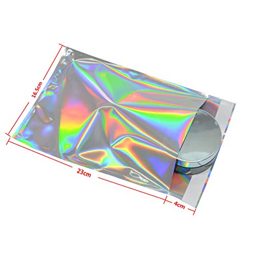100 pcs Hologram Aluminum Foil Adhesive Pouch Courier Storage Bags Envelope Poly Mailer Postal Shipping Mailing Pouches (Holograms Foil Adhesive Pouch, 16.5x23+4 ()