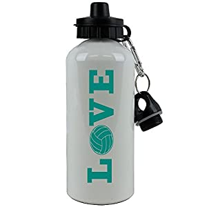 LOVE VOLLEYBALL Sports Team Aluminum White Finish 20 Ounce 600ML Sport Water Bottle Gift (Teal)