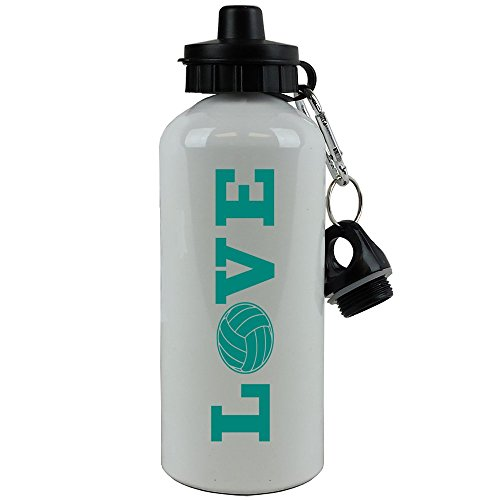 Engraved Cases Love Volleyball Sports Team Aluminum White Finish 20 Ounce 600ML Sport Water Bottle Gift (Teal)