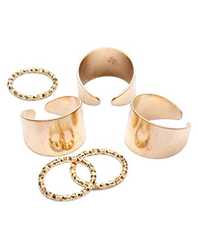 Young & Forever Women's Elite 6Pcs Punk Style Gold Stack Plain Midi Mid Finger Knuckle Ring Set by Young & Forever