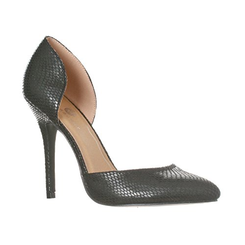 Riverberry Women's Nora Pointed Toe, Slip On D'Orsay Pump Heels, Black Snake, 8.5 (Print Snake Black Pumps)