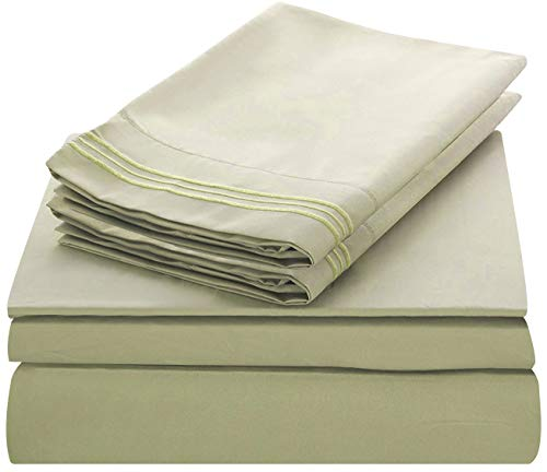 - Lux Decor Collection Bed Sheet Set - Brushed Microfiber 1800 Bedding - Wrinkle, Stain and Fade Resistant - Hypoallergenic - 4 Piece (King, Embroidery Olive Green)