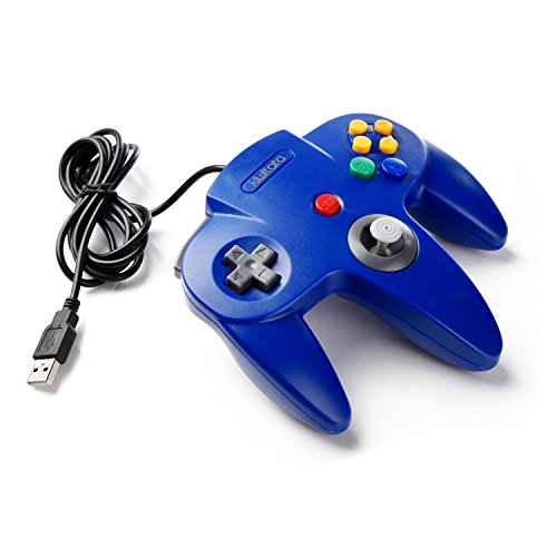 kiwitatá Classic Nintendo 64 N64 USB controller,N64 Bit Retro USB Wired PC Game Controller Gamepad Joystick for Windows PC & Mac Blue