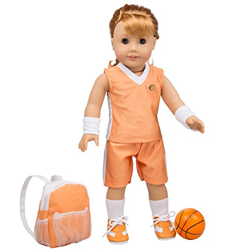 Basketball Uniform for American Girl and 18 inches Dolls: 8pcs Outfit (Includes Jersey Shirt, Shorts, Headband, Hair Tie, Socks, Sneakers, Backpack and Basketball)