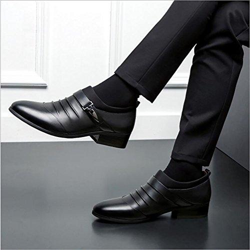 Printemps Chaussures Banquet Caoutchouc Gfp Bureau Travail Noir Mocassins D'affaires Mariage Automne Formel Pointus En Semelle Cuir Confortables 844dpq