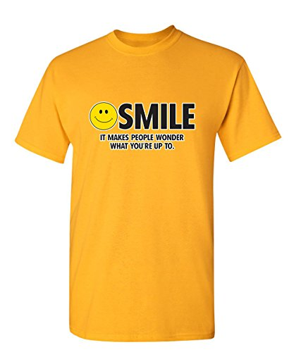 (Feelin Good Tees Smile It Makes People Wonder Emoticon Smile Face Sarcastic Cool Funny T Shirt L Gold)
