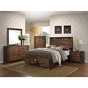 ACME Merrilee Queen Bed w/Storage - 21680Q - Oak