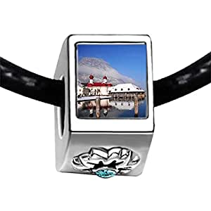 Chicforest Silver Plated Hotel on Alpsee Lake Photo Blue Aquamarine Crystal March Birthstone Flower Charm Beads Fits Pandora Bracelet