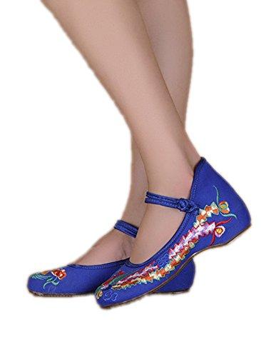Avacostume Mujeres Embroidery Classics Phoenix Cheongsam Strappy Zapatos Blue