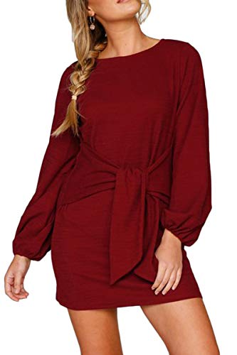 Meyeeka Women's Sexy Scoop Neck Puff Long Sleeve Bow Knot Front Knitted Mini Dress Wine M