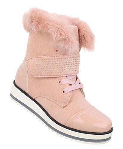 Damen Schuhe Stiefeletten Schnürer Boots Altrosa