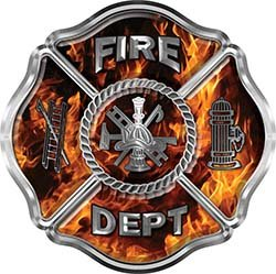 REFLECTIVE Traditional Fire Department Fire Fighter Maltese Cross Sticker / Decal in Inferno Flames ()