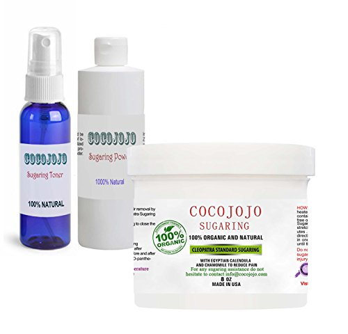 Sugar Wax Kit for Beginners 8 oz Standard Firm Wax with Toner and Powder For body, bikini, Brazilian, legs, face, eyebrows and chin By COCOJOJO