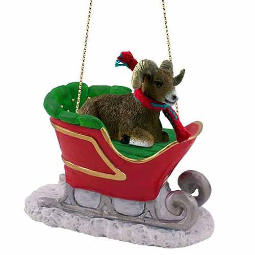 Big Horn Sheep Sleigh Ride Christmas Ornament - DELIGHTFUL!