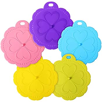 ME.FAN Silicone Cup Lids - Flower Cup Cover [5 Set] Anti-dust Airtight Seal Mug Cover - Hot Cup Lids/Hang Hole Design - Silicone Drink Cup Lids Bright Colors