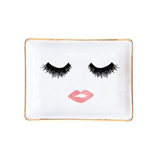 - Lashes and Lips Jewelry Dish | Ring Storage Display Bridesmaid Gift for Her Gold Ceramic Organizer Tray Small Office Decor Desk Accessories Hand Drawn