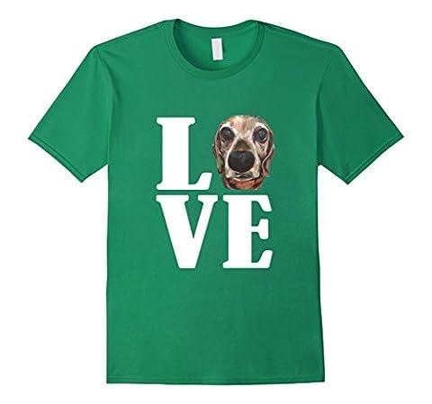 Mens Weiner Dog Love Dachshund Original Art T-Shirt 2XL Kelly Green - Weiner Green T-shirt