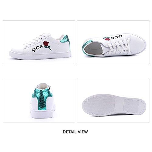 Mode pour Broderie Lacets de Sport de Sport Chaussures Chaussures Femmes Chaussures Chaussures Green Sport de à Simple Occasionnels Iw1EpqZ