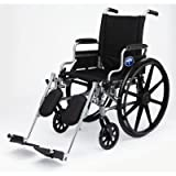 Medline K4 Standard Lightweight Wheelchair with Flip-Back Arms and Detachable, Elevating Legrests for Extra Comfort, Gray, 18' Seat