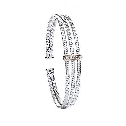 Jareeya-3Rib Câbles en argent sterling avec CZ plaque pour femme Bracelet 9.2g