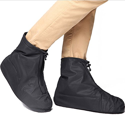 Solo Costume Ideas (Waterproof Shoe Cover Overshoe Reusable, Slip Resistant Rubber Sole Galoshes to Protect Over the Shoe, Boot Cover for Men and Women (Black, Size M))